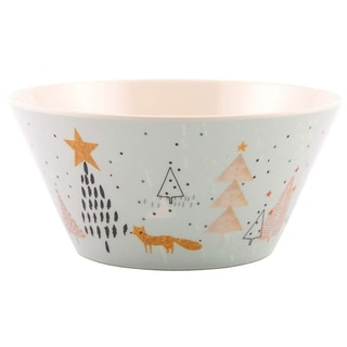 Melange  6-Piece 100% Melamine Bowls Christmas Collection-Golden Fox Shatter-Proof and Chip-Resistant
