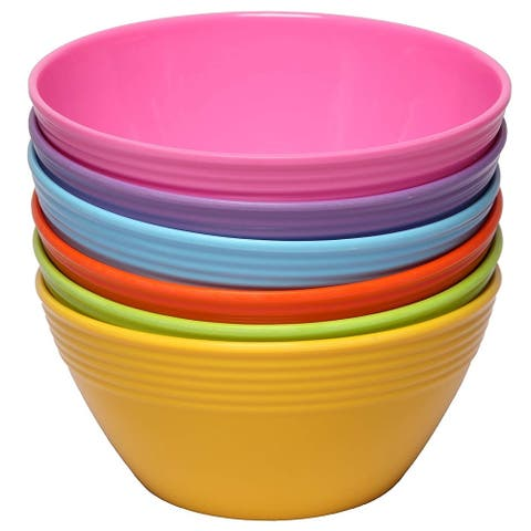 Melange 36-Piece Melamine Bowl Set (Solids Collection ) Shatter-Proof and Chip-Resistant Melamine Bowls Color: Multicolor