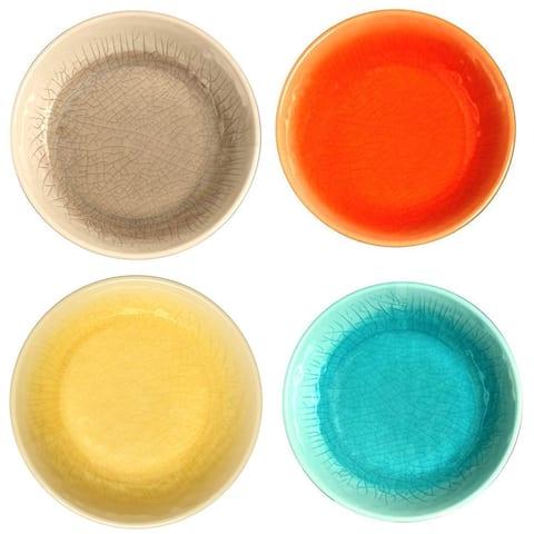 Melange 36-Piece 100% Melamine Bowl Set (Crackle Collection)