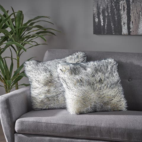Christopher Knight Home Carnation Long Faux Fur 18 Inch Decorative Throw Pillow (Set of 2)
