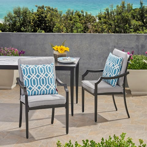 San Outdoor Aluminum Dining Chairs with Cushions (Set of 2) by Christopher Knight Home