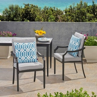 Link to San Outdoor Aluminum Dining Chairs with Cushions (Set of 2) by Christopher Knight Home Similar Items in Patio Furniture