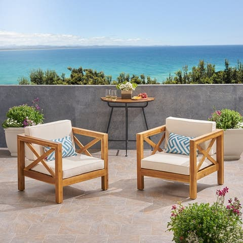 Brava Outdoor Acacia Wood Club Chairs with Cushions (Set of 2) by Christopher Knight Home