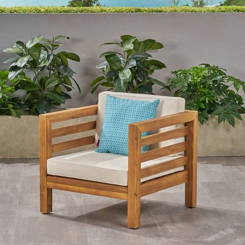Oana Outdoor Acacia Wood Club Chair with Cushion by Christopher Knight Home