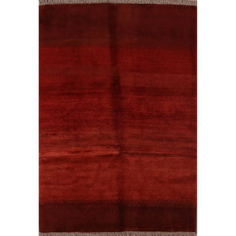 """Gabbeh Modern Tribal Hand Knotted Wool Persian Area Rug - 4'9"""" x 3'4"""""""