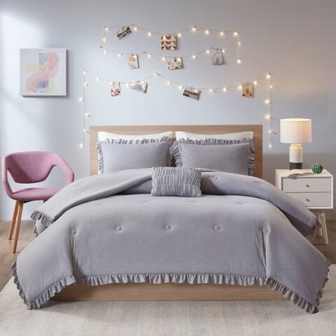 Intelligent Design Mandy Grey Jersey Knit with Ruffles Comforter Set