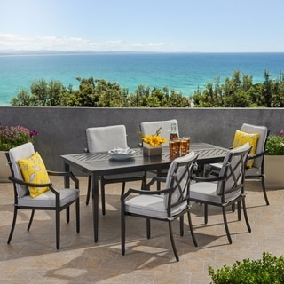 San Diego Outdoor 6 Seater Aluminum Rectangular Dining Set by Christopher Knight Home