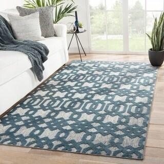 Nikki Chu Nolita Indoor/ Outdoor Trellis Gray/ Blue Area Rug