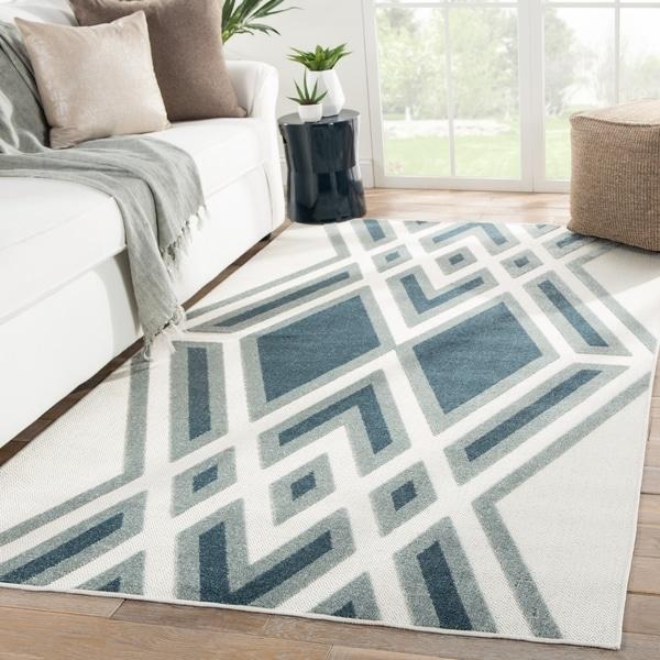 Nikki Chu Tasma Indoor/ Outdoor Geometric White/ Blue Area Rug