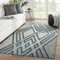 Nikki Chu Tasma Indoor/ Outdoor Geometric Gray/ Blue Area Rug