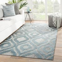 Nikki Chu Ezzine Indoor/ Outdoor Trellis Gray/ Blue Area Rug