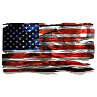 Helena Martin 'Tattered Glory' 46in x 24in Large Metal American Flag Wall Sculpture