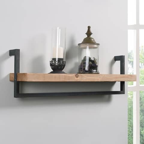 Bella Wood and Iron Finished Rustic Wall Shelf
