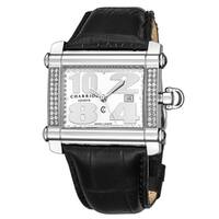 Charriol Women's CCHXLD.361.HX017 'Actor' Silver Dial Black Leather Strap Diamond Swiss Made Quartz Watch