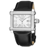 Charriol Women's CCHL.361.H002 'Actor' Silver Dial Black Leather Strap Swiss Made Quartz Watch