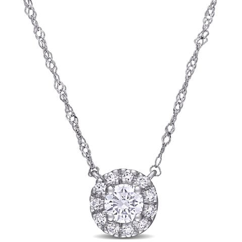 Eternally Yours 3/8ct TW Lab Grown Diamond Halo Necklace in 14k White Gold