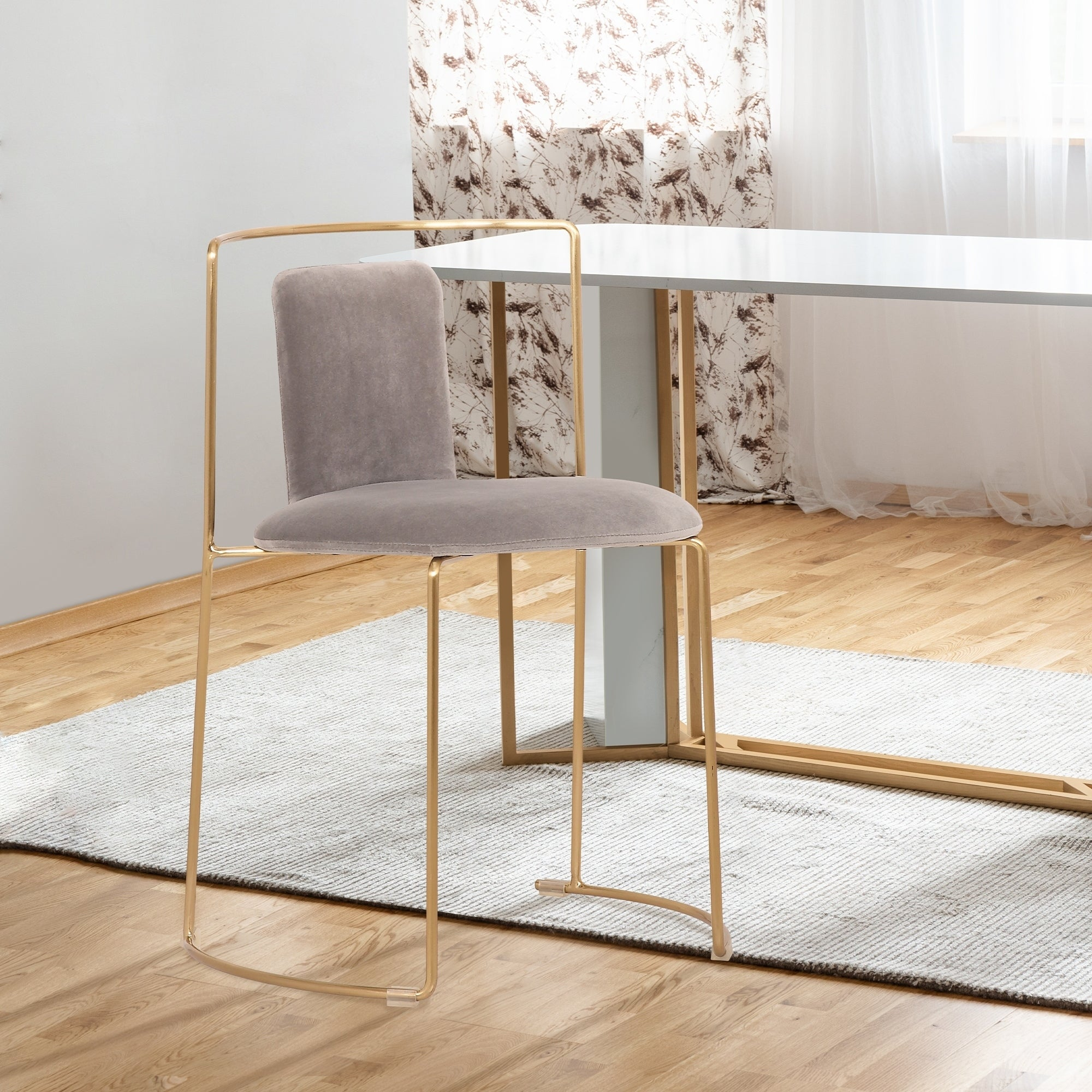 Whitney Modern Metal Dining Chair In Gold With Gray Velvet Set Of 2