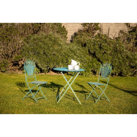 Alpine Corporation 3-Piece Peacock Feather Rustic Metal Bistro Set