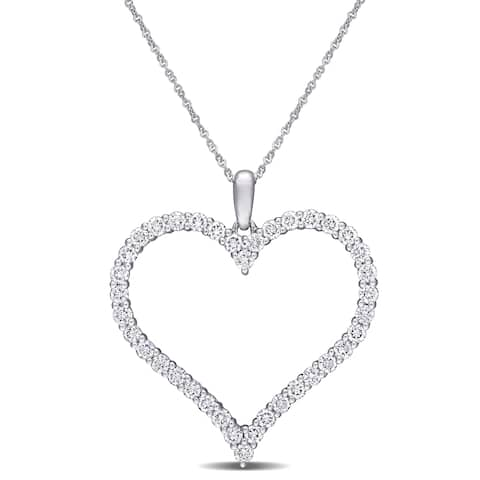 Eternally Yours 1 1/4ct TW Lab Grown Diamond Open Heart Necklace in 14k White Gold