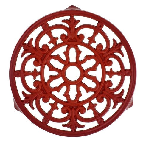 Chasseur French Fleur De Lys Enameled Cast Iron Trivet, 9-inch Diameter, Red.