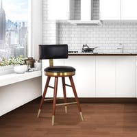 "Valencia Mid-Century 26"" Counter Height Barstool in Walnut with Gold and Black Faux Leather"