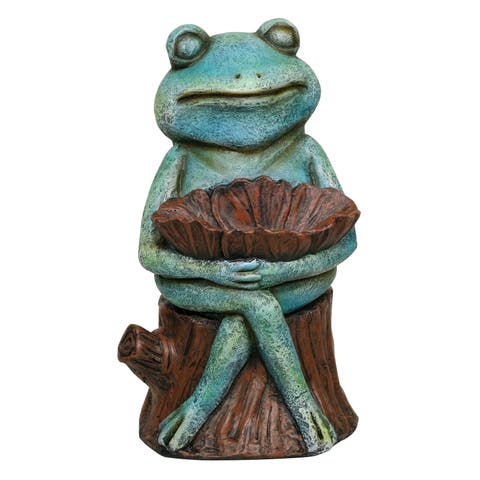 Alpine Green Sleeping Frog Holding a Flower Statue, 15 Inch Tall