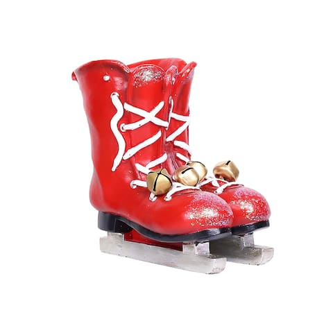 Alpine Corporation Red Christmas Ice Skates Planter with Metal Bells