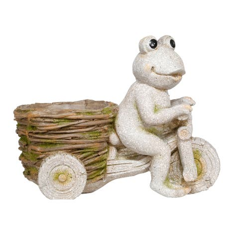 Alpine Stone Frog on Tricycle w/ Planter Basket, 12 Inch Tall