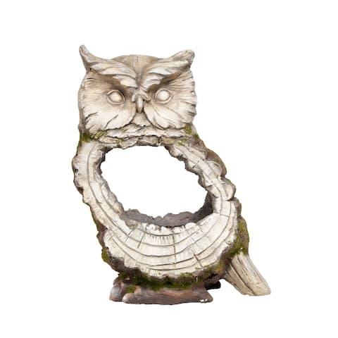 Alpine Woodcut Owl Stone Planter, 15 Inch Tall