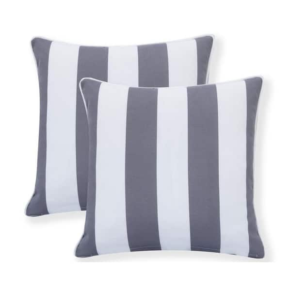 Water Resistant Outdoor Square Patio Stripe Throw Pillow Set Of 2 18 X 18 Overstock 26968945
