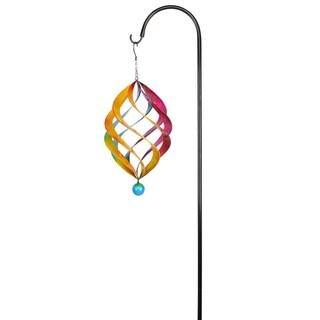 Alpine Multi-Color Metal Wind Spinner w/ Shepherd's Hook, 19 Inch Tall