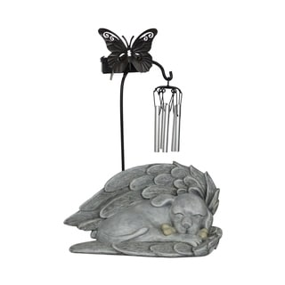 Alpine Solar Puppy Angel Butterfly Windchime Statue w/ White LED Light and Stone Finish, 12 Inch Tall