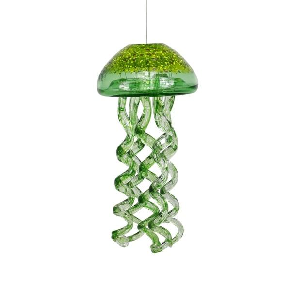 Shop Alpine Green Glass Hanging Jellyfish Windchimes 12