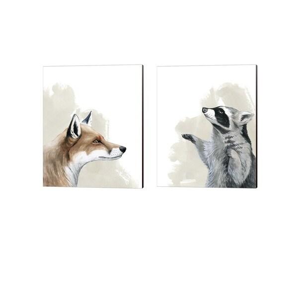Grace Popp 'Timberland Friend A' Canvas Art (Set of 2)