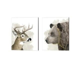 Grace Popp 'Timberland Friend B' Canvas Art (Set of 2)