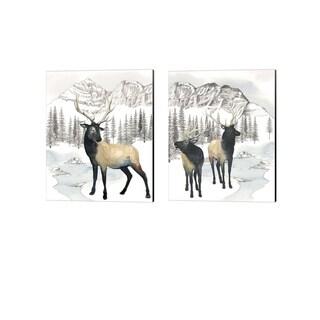 Grace Popp 'Winter Elk' Canvas Art (Set of 2)