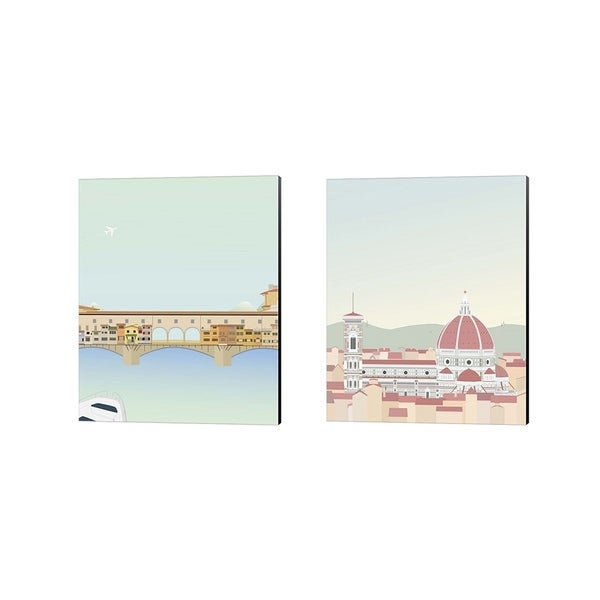 Gurli Soerensen 'Travel Europe A' Canvas Art (Set of 2)