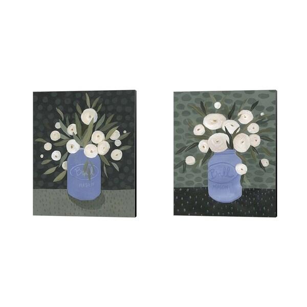Emma Scarvey 'Mason Jar Bouquet A' Canvas Art (Set of 2)