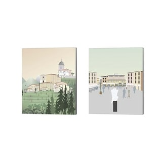Gurli Soerensen 'Travel Europe E' Canvas Art (Set of 2)