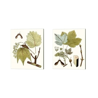 Unknown 'Maple Leaves A' Canvas Art (Set of 2)