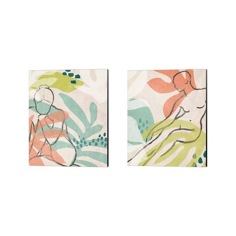 June Erica Vess 'Tropical Nude' Canvas Art (Set of 2) - 12 x 15
