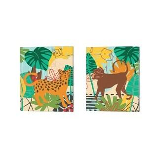 June Erica Vess 'Graphic Jungle A' Canvas Art (Set of 2)
