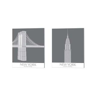 Fab Funky 'New York Brooklyn Bridge & Chrysler Building Monochrome' Canvas Art (Set of 2)