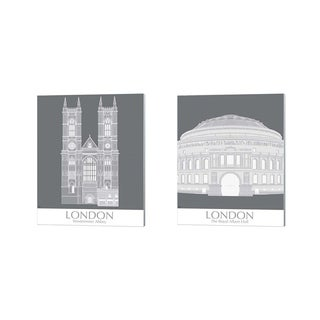 Fab Funky 'London Westminster Abbey & Albert Hall Monochrome' Canvas Art (Set of 2)