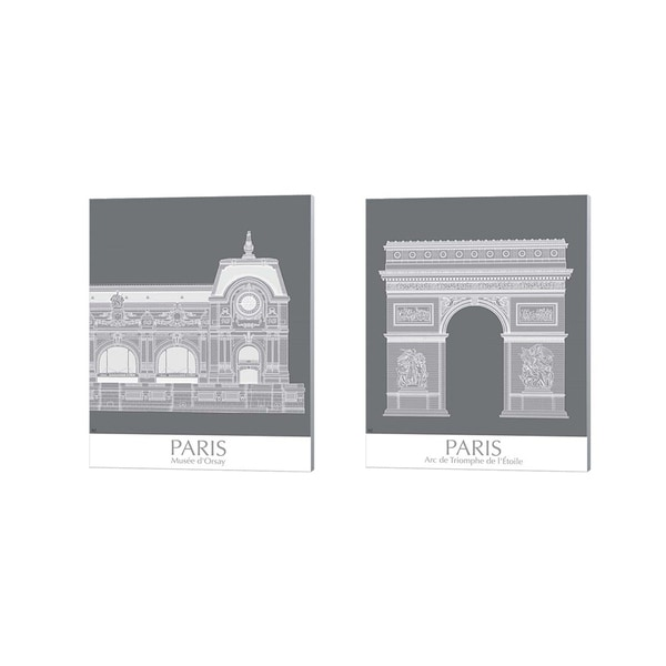 Fab Funky 'Paris Musee Dorsay & Arc De Triomph Monochrome' Canvas Art (Set of 2)