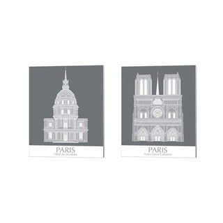 Fab Funky 'Paris Les Invalides & Notre Dame Monochrome' Canvas Art (Set of 2)