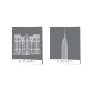 Fab Funky 'New York The Dakota & Empire State Buildings Monochrome' Canvas Art (Set of 2)