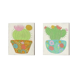 Chariklia Zarris 'Happy Cactus' Canvas Art (Set of 2)