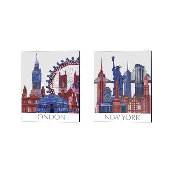 Fab Funky 'London & New York Landmarks , Red Blue' Canvas Art (Set of 2)