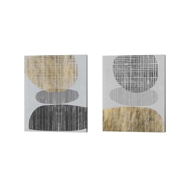 Jennifer Goldberger 'Gilded Shapes' Canvas Art (Set of 2)